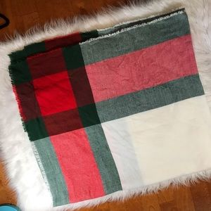 Red & Green Holiday Winter Blanket Scarf